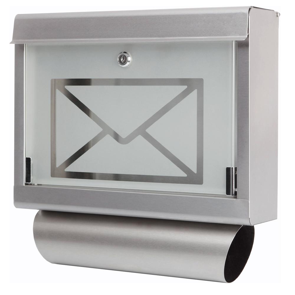 Edelstahl Design Briefkasten Stand Postkasten Zeitung Zeitungsrolle ...