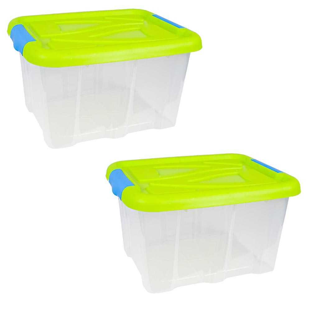 2er Set Stapelboxen 30 Liter Aufbewahrungskisten mit Grünem Deckel