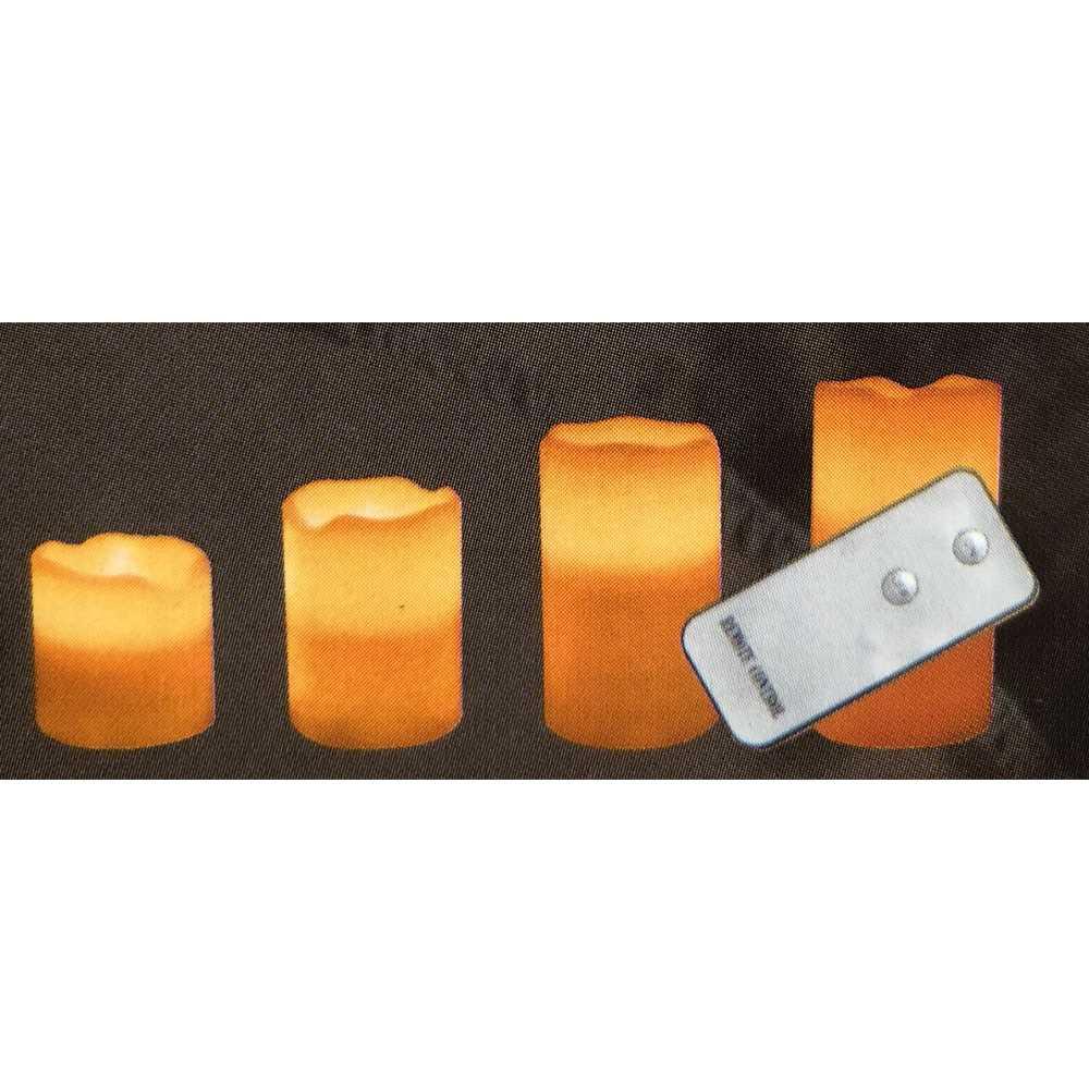 4er Vorteilspack LED Echtwachskerzen mit Fernbedienung
