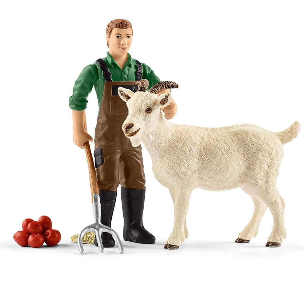 Schleich Farm World Bauer mit Ziege 42375 Spielset Bauernhof Spielwelt