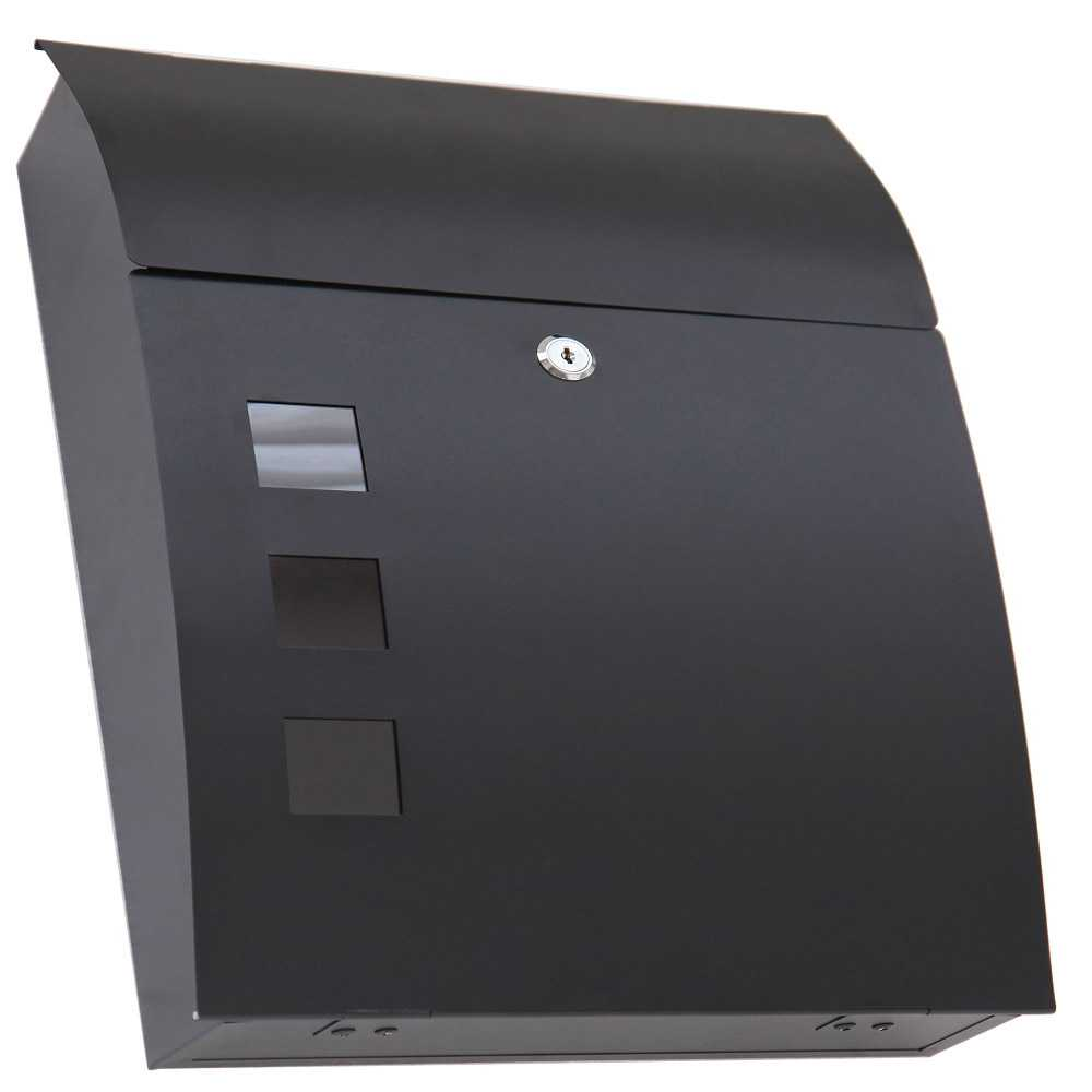 Grafner® Briefkasten schwarz mit 3 Sichtfenstern