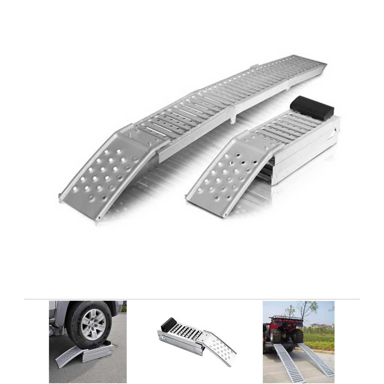 Grafner® 2er Set Stahl Auffahrrampe Verladerampe klappbar 200x25cm 1600 kg