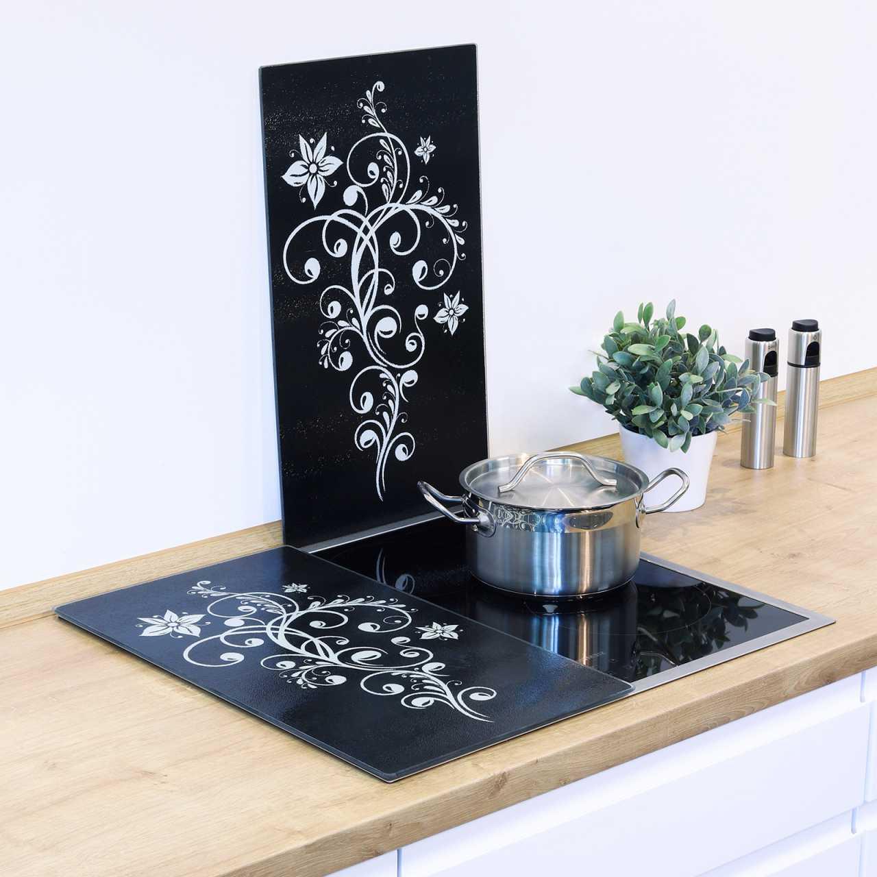 HI Herdabdeckplatten 2 tlg. Motiv Floral 28018