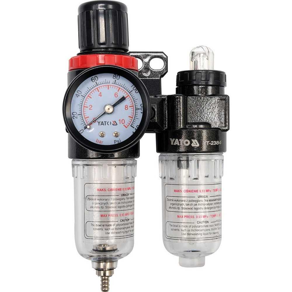 """YATO Profi 1/4"""" Druckminderer mit Wasser-/Ölabscheider YT-2384 Druckluftregler mit Filter und Öler"""