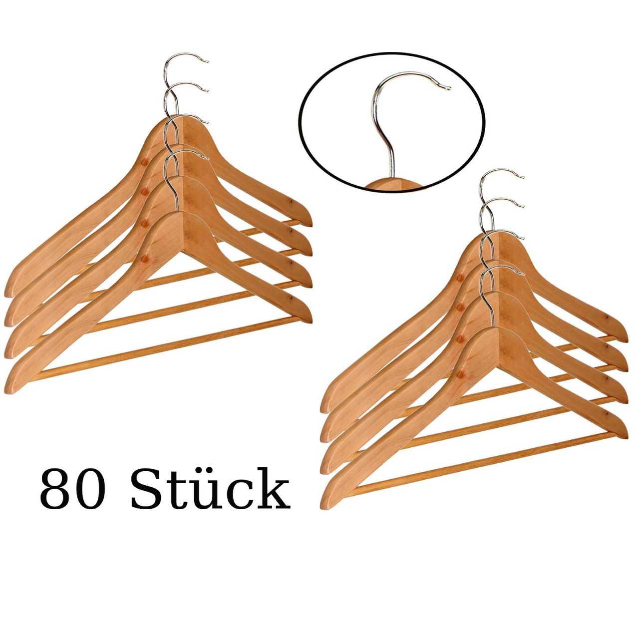 80 Stück Kleiderbügel aus Holz mit Hosenstange und Einkerbung für Träger
