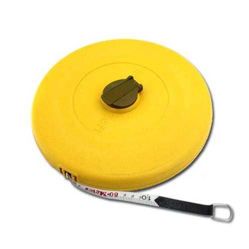 Vorel Rollbandmaß 50m in gelb Kapselmaßband mit Kurbel