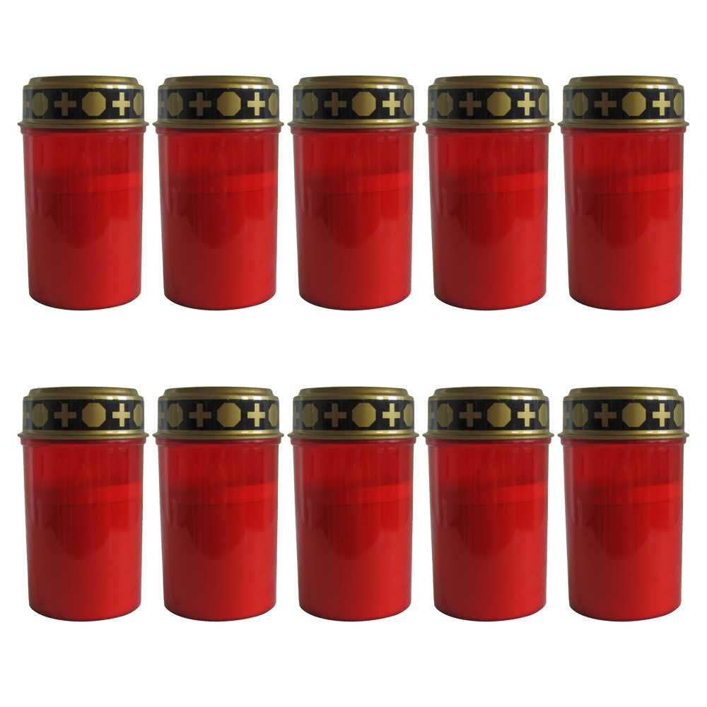 10er Set LED Grablichter Ø ca. 6,5 cm x 12 cm Rot