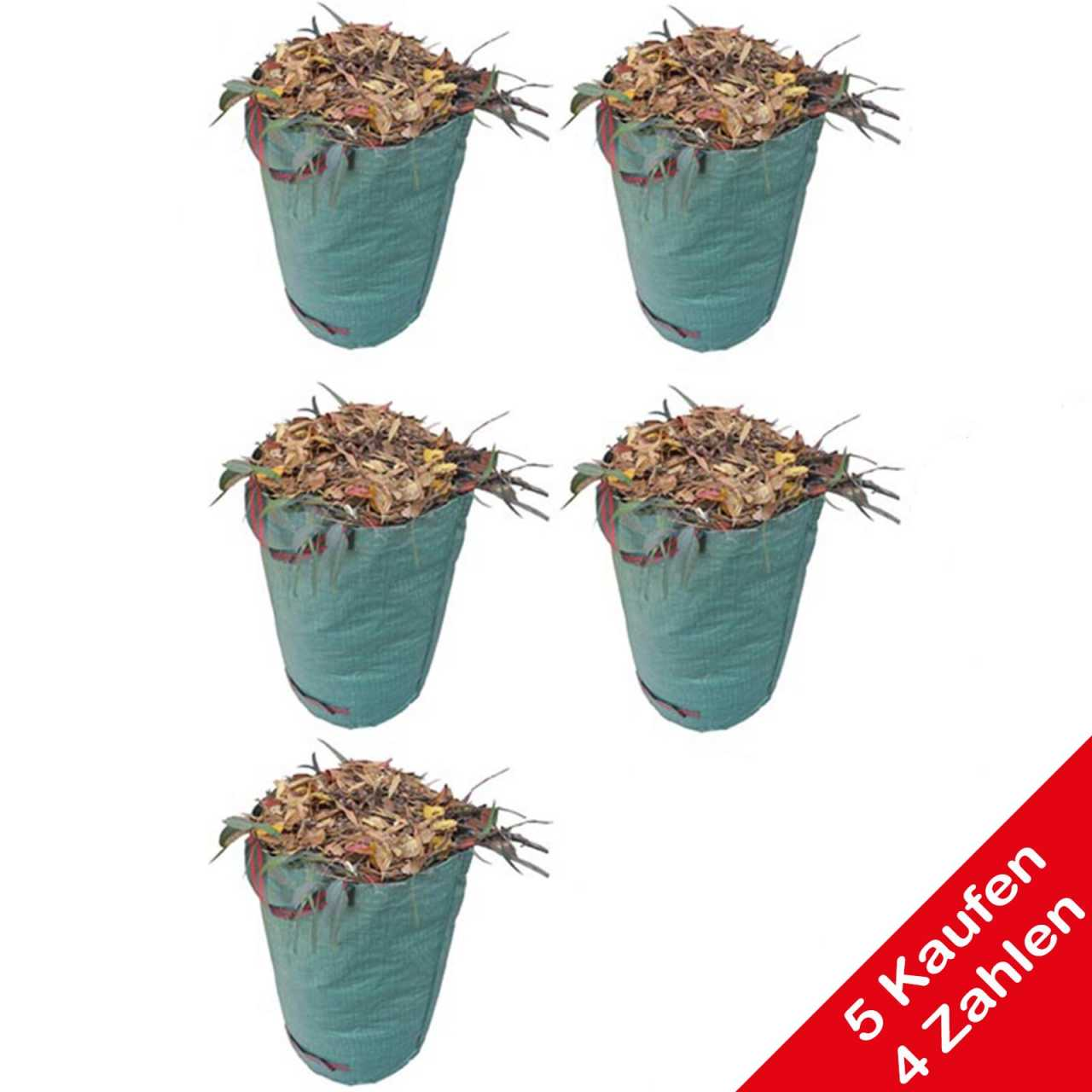 Aktion: 5 Kaufen 4 Zahlen Grafner® Gartenabfallsack 272 Liter Gartentasche rund Laubsack