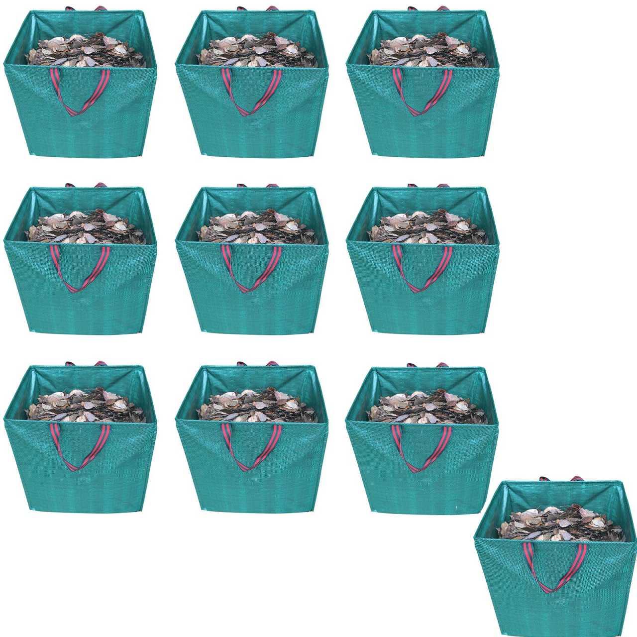 10er Set Grafner® Gartenabfallsack 275 Liter Gartentasche eckig Laubsack