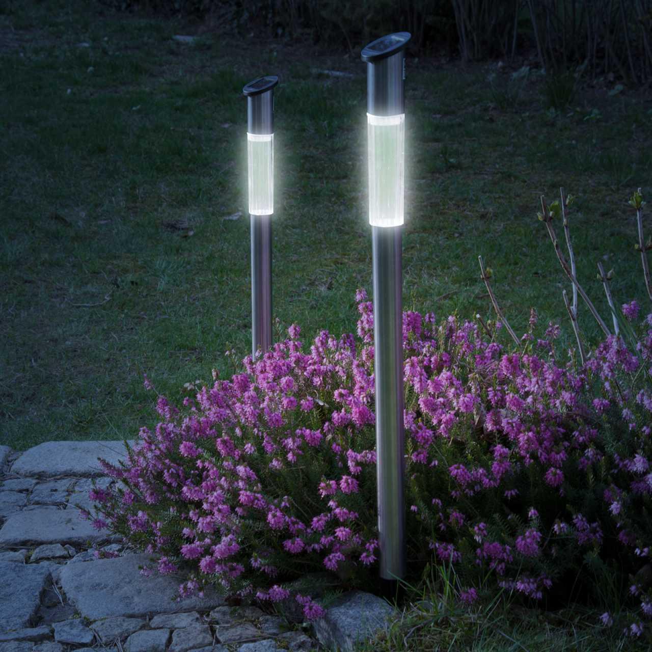6er Set Grafner XXL LED Solarlampe mit Erdspieß 72cm Solarleuchte aus Edelstahl Solar Wegleuchte