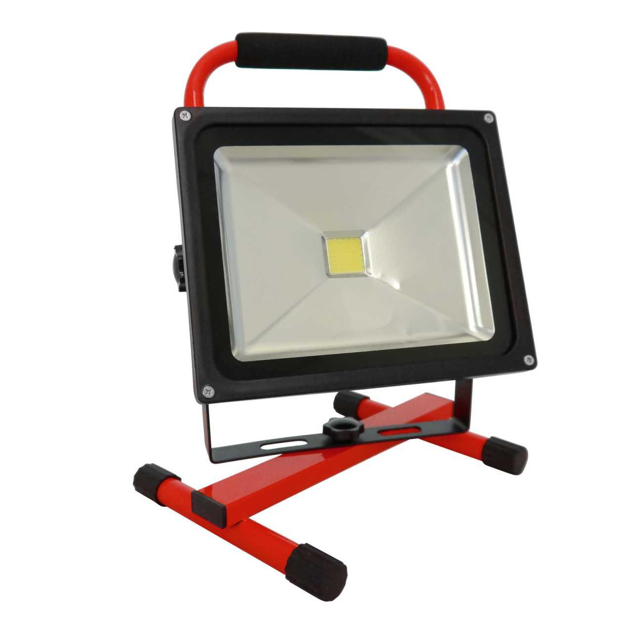Grafner LED Baustrahler 30 Watt 8800 mAh Akku in Rot Flutlicht