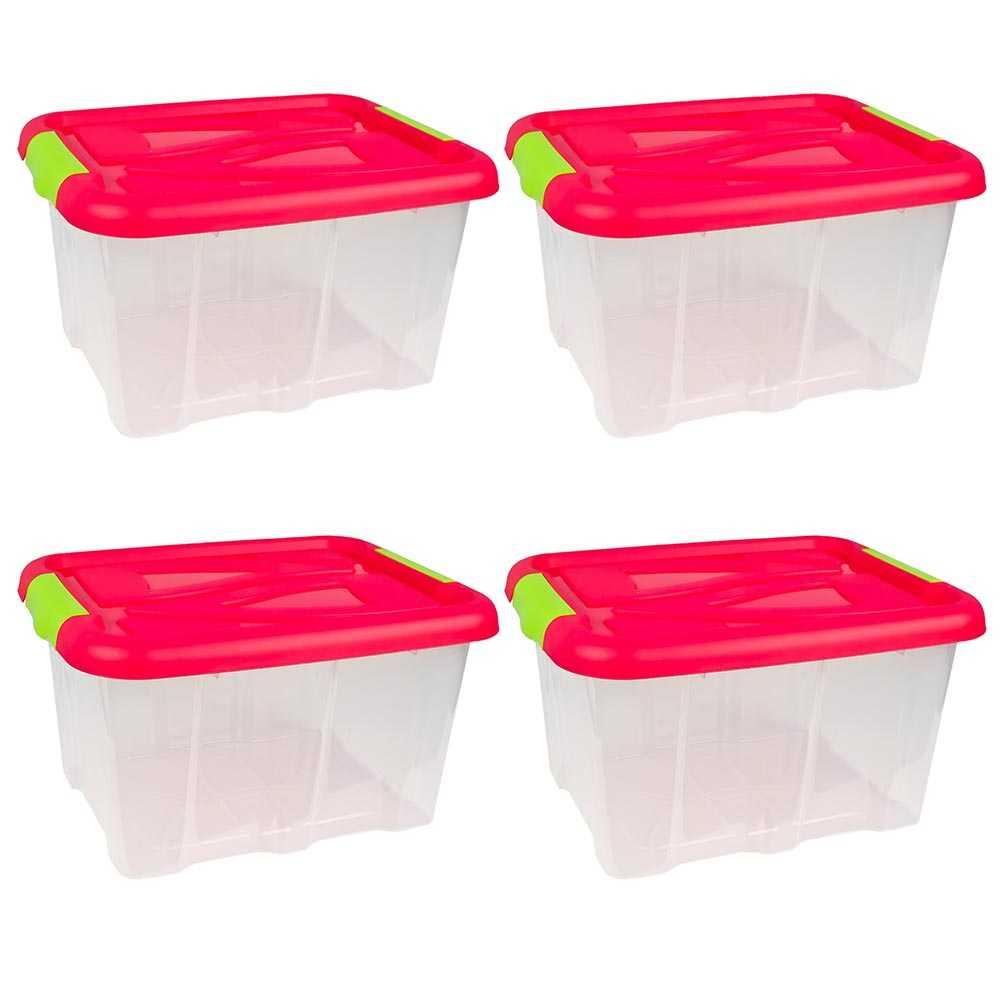 4er Set Stapelboxen 30 Liter Aufbewahrungskisten mit Pinkem Deckel