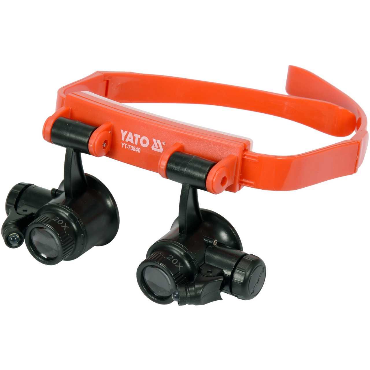YATO Profi Kopfband-Lupenbrille mit Beleuchtung | Binokular | 10x/15x/20x/25x | YT-73840