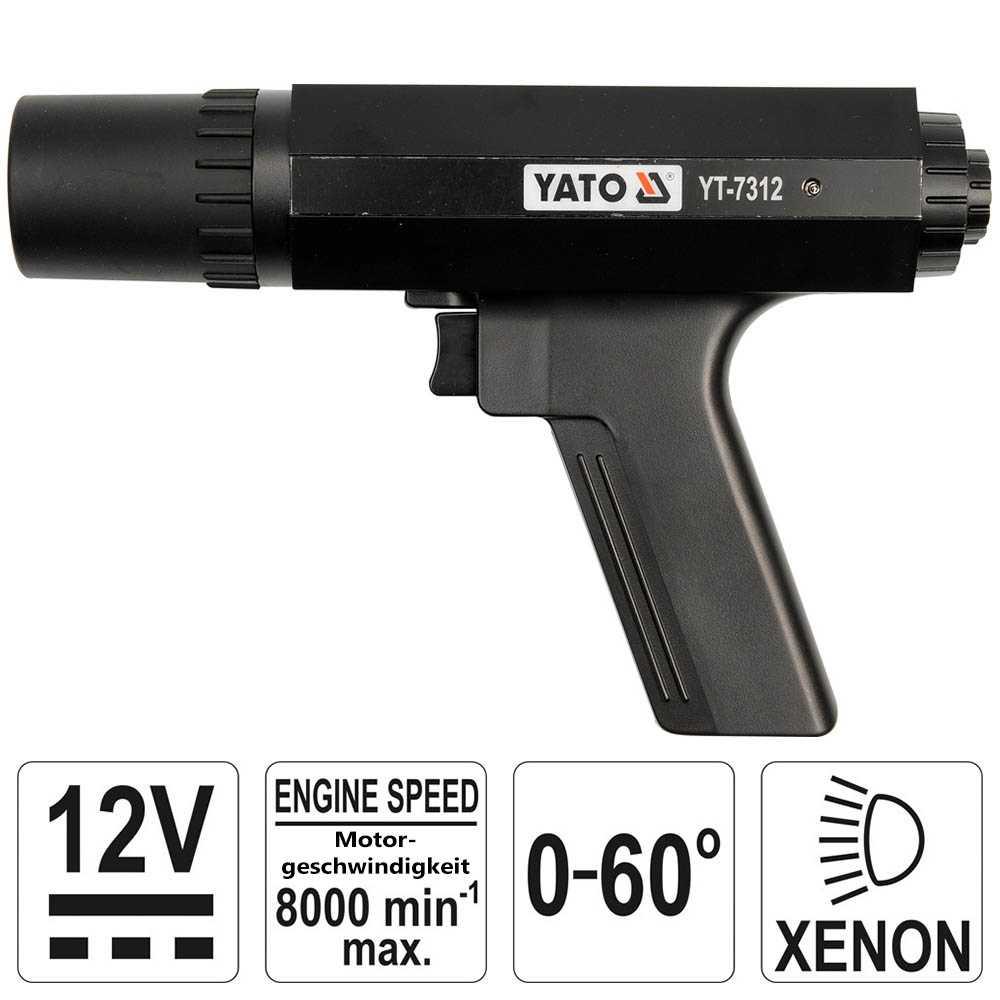 YATO Zündlichtpistole / Stroboskoplampe 12V 8000 U/min