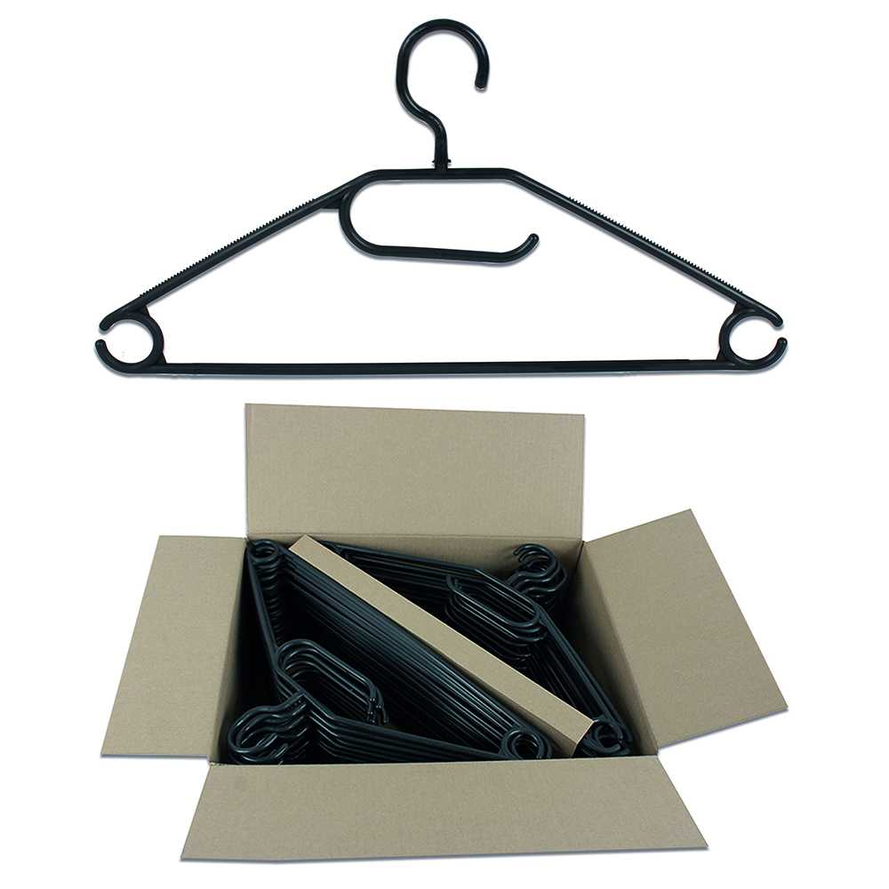 Kleiderbügel aus Kunststoff 50er Set schwarz