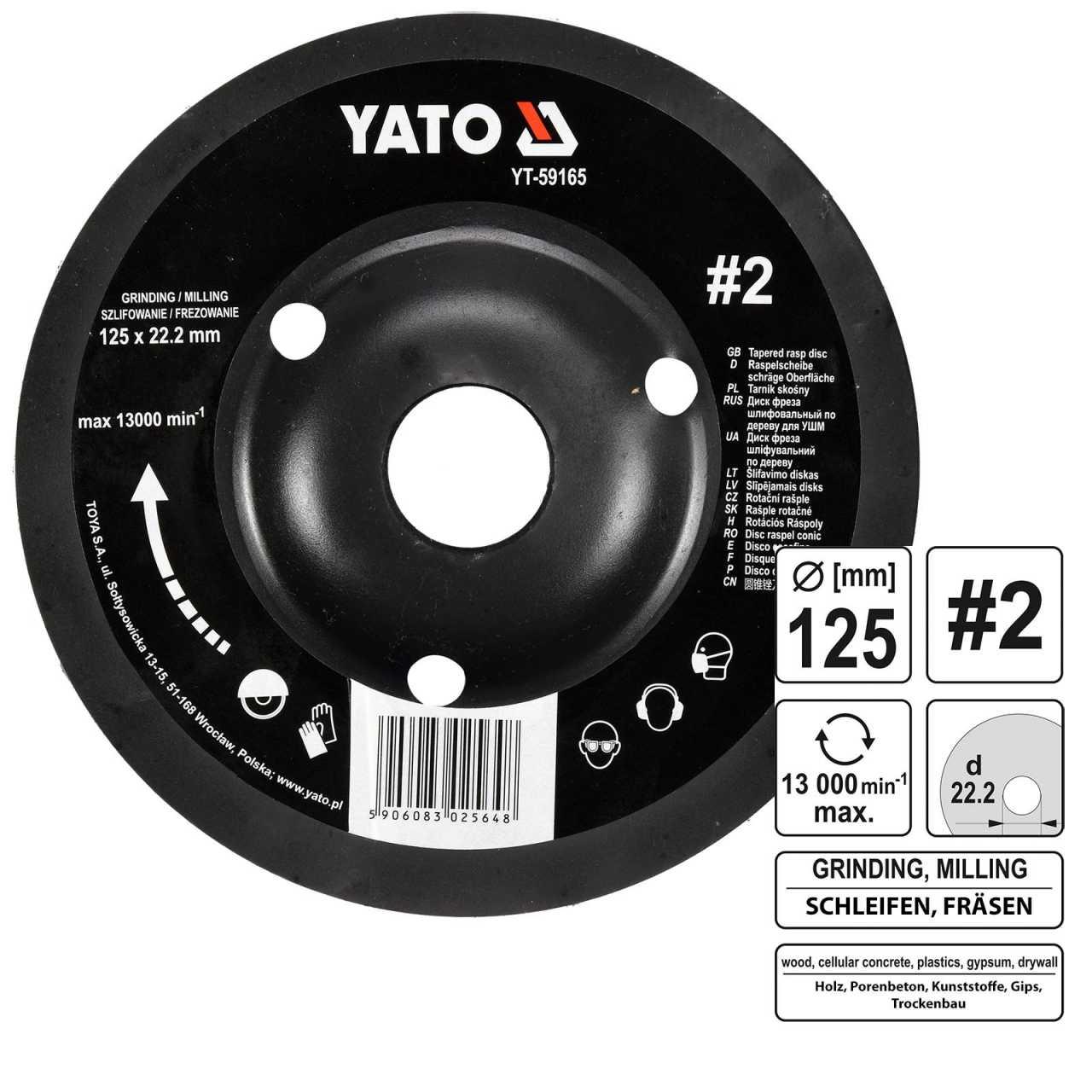 YATO Profi Raspelscheibe für Winkelschleifer 125mm Nr2