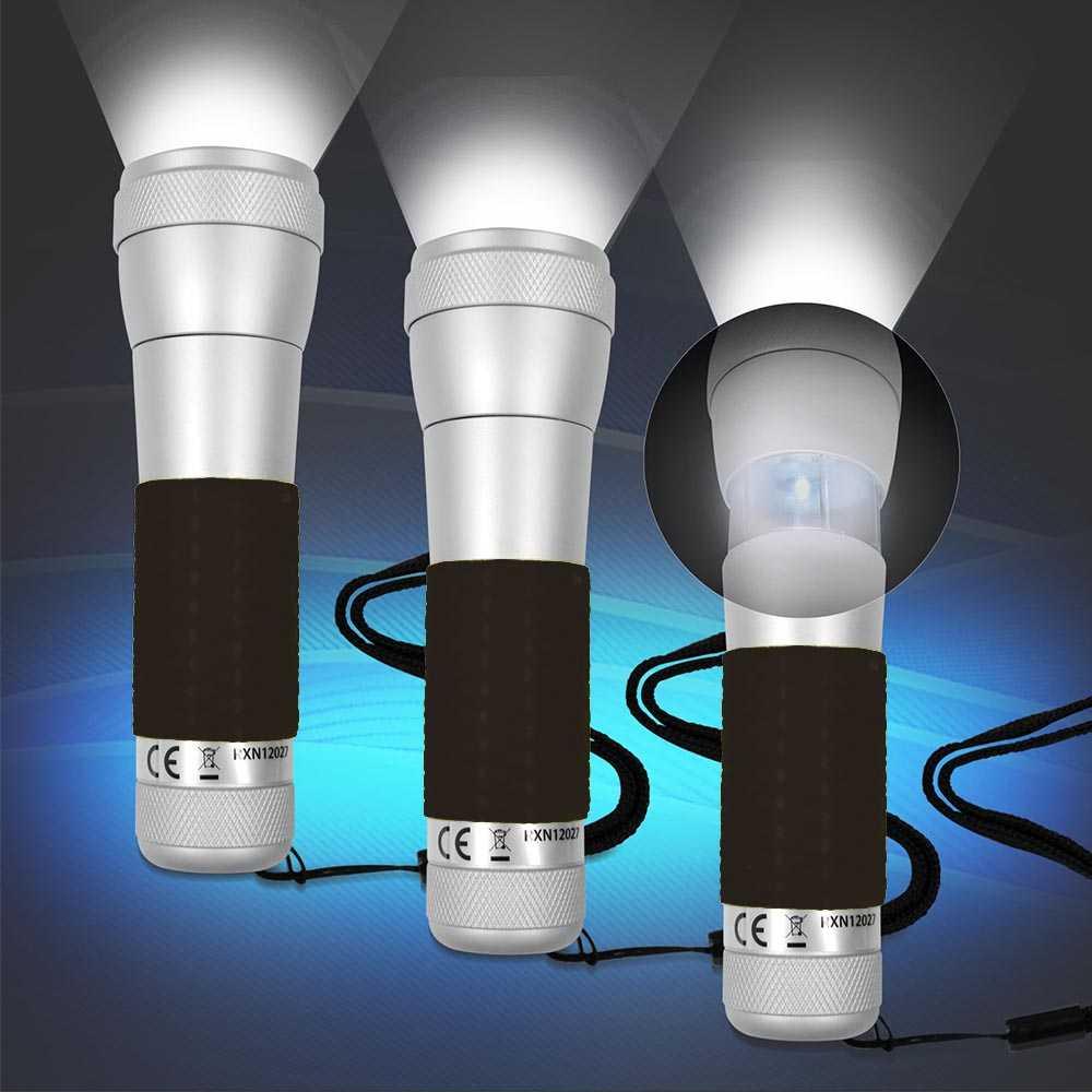 3x 2 in 1 Aluminium Taschenlampe, Tischleuchte Schwarz mit Power LED