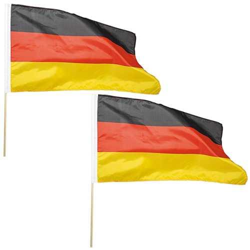 2er Set Flaggen mit Holzstab 30 x 45 cm Deutschlandfahnen