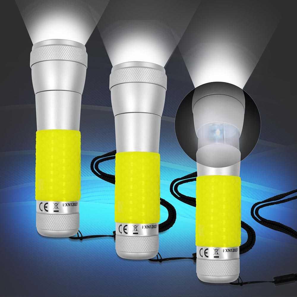 3x 2 in 1 Aluminium Taschenlampe, Tischleuchte Gelb mit Power LED
