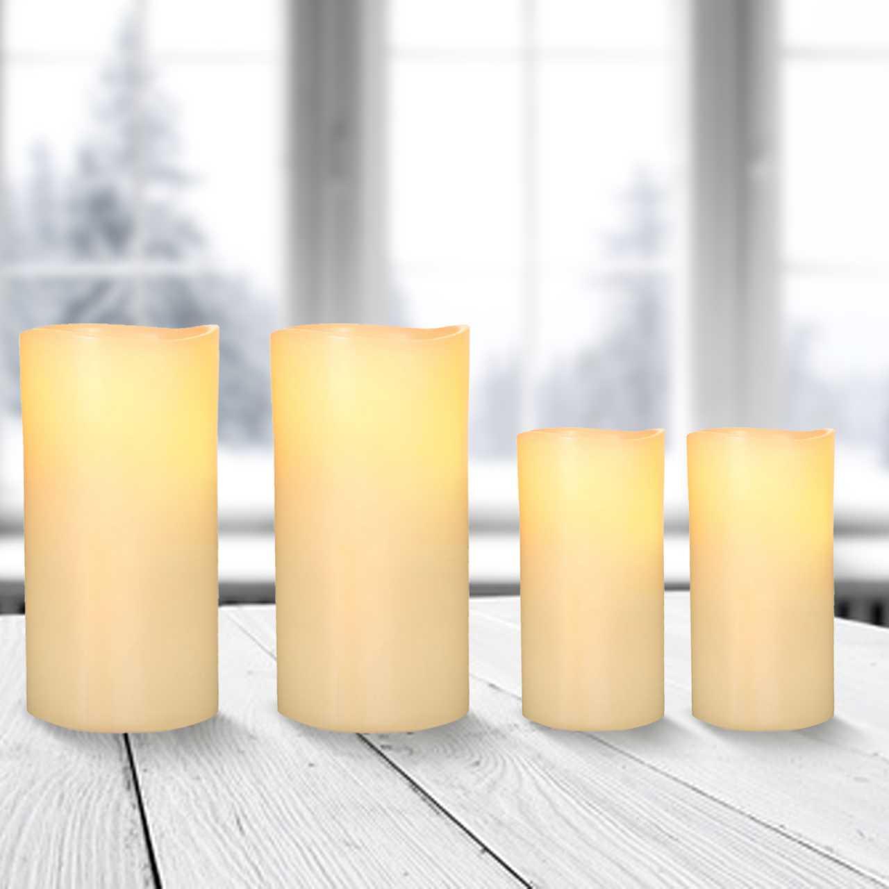 4x LED Kerzen Echtwachs Flackereffekt Ø 7,5cm Höhe 15cm / 19,5cm