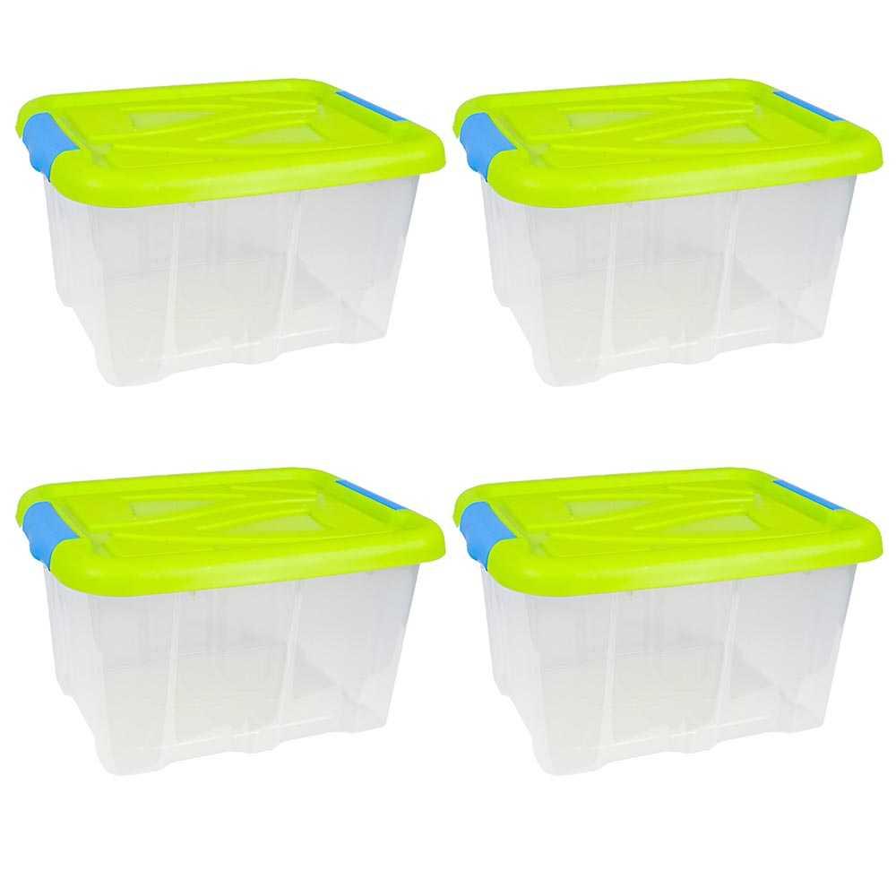 4er Set Stapelboxen 30 Liter Aufbewahrungskisten mit Grünem Deckel