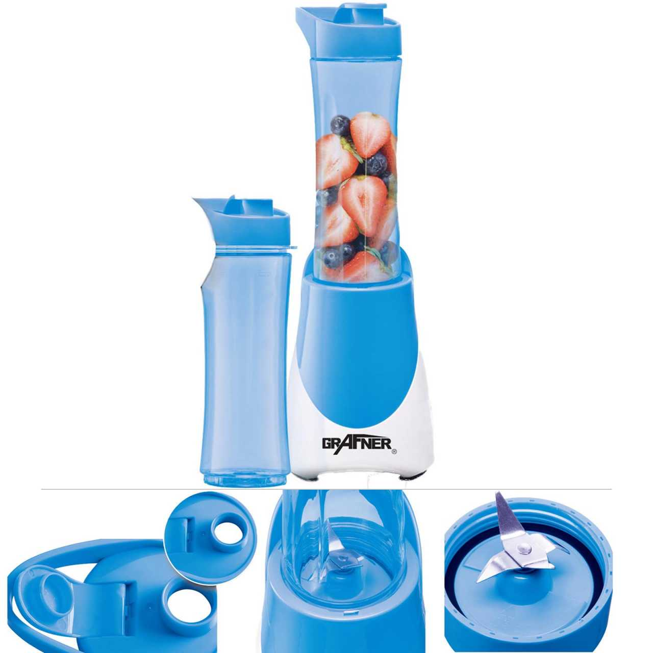 Grafner® Smoothie Maker inkl. 2x 600ml Trinkflasche to go Shaker Standmixer Mixer blau