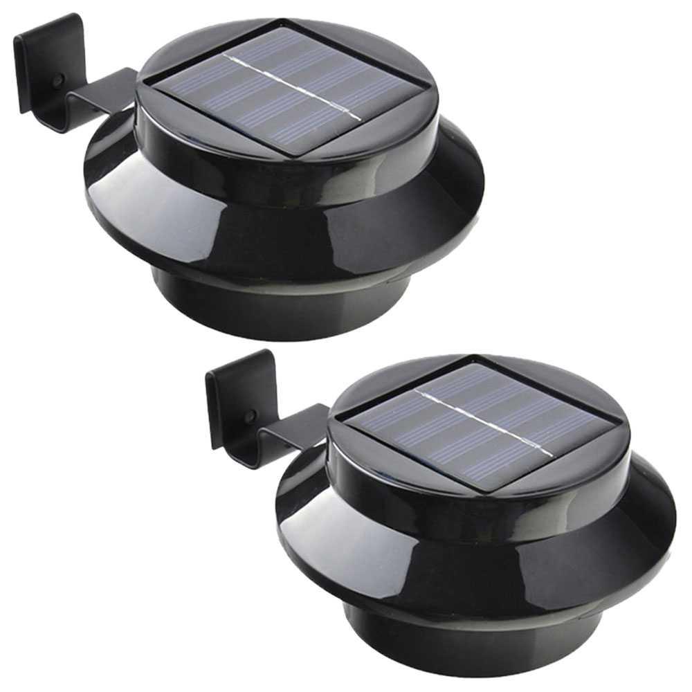 2er Set Grafner® Solar LED Dachrinnenleuchten in schwarz Dachrinnenbeleuchtung