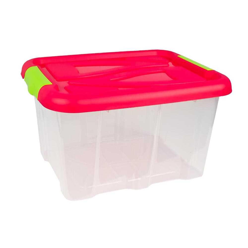 Stapelbox 30 Liter Aufbewahrungskiste mit Pinkem Deckel