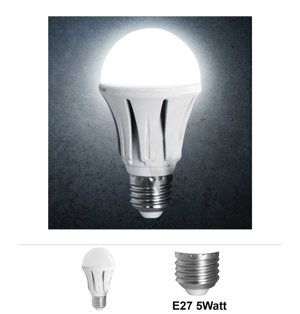 Grafner® LED Leuchtmittel Alu 5W E27 6000K Kaltweiss