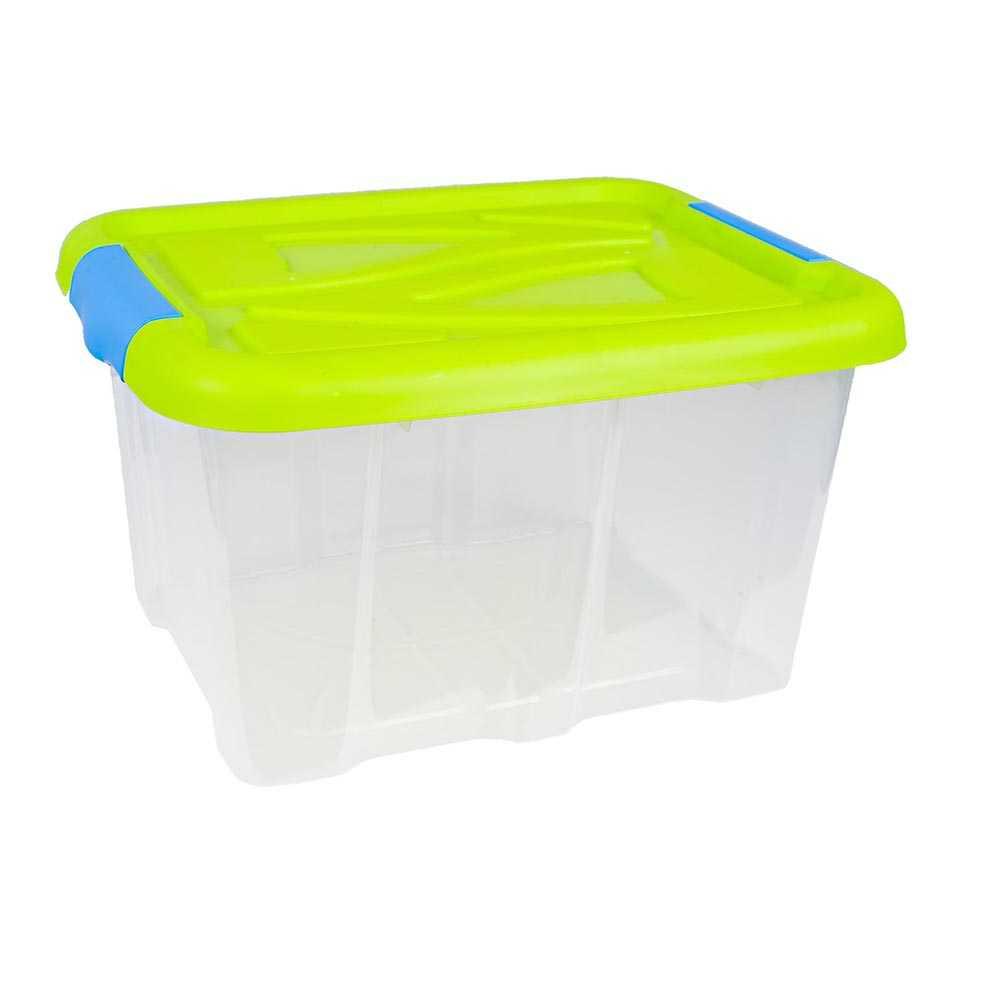 Stapelbox 30 Liter Aufbewahrungskiste mit Grünem Deckel