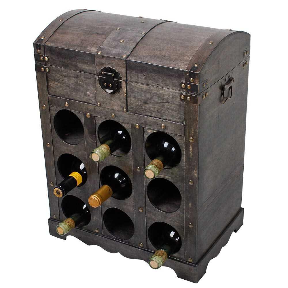 Weinregal im Kolonialstil für 9 Flaschen