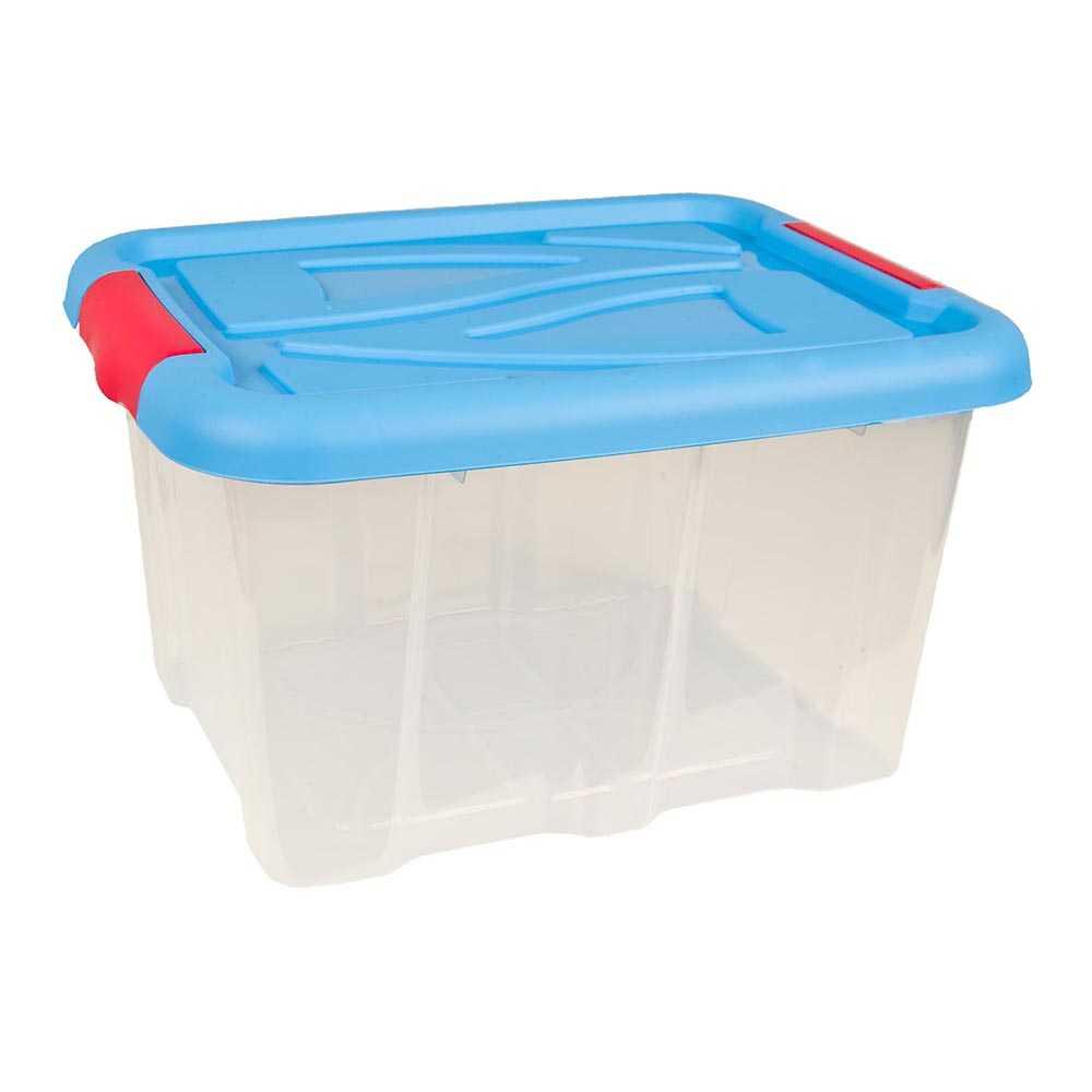Stapelbox 30 Liter Aufbewahrungskiste mit Blauem Deckel