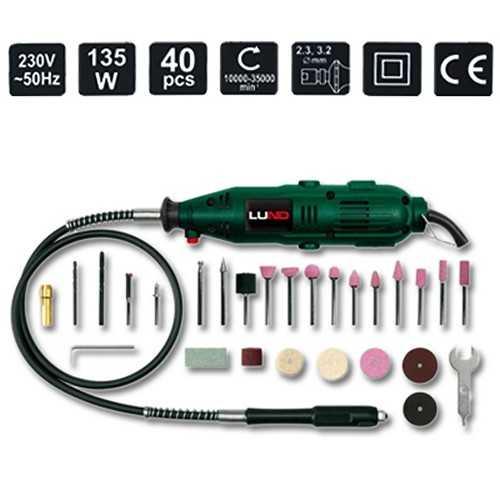 Lund Mini-Schleifer 135W 40 tlg im Koffer