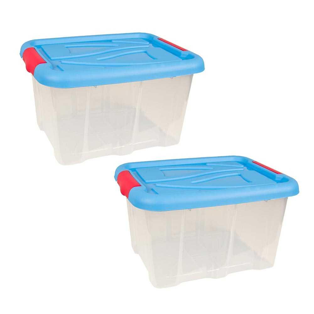 2er Set Stapelboxen 30 Liter Aufbewahrungskisten mit Blauem Deckel