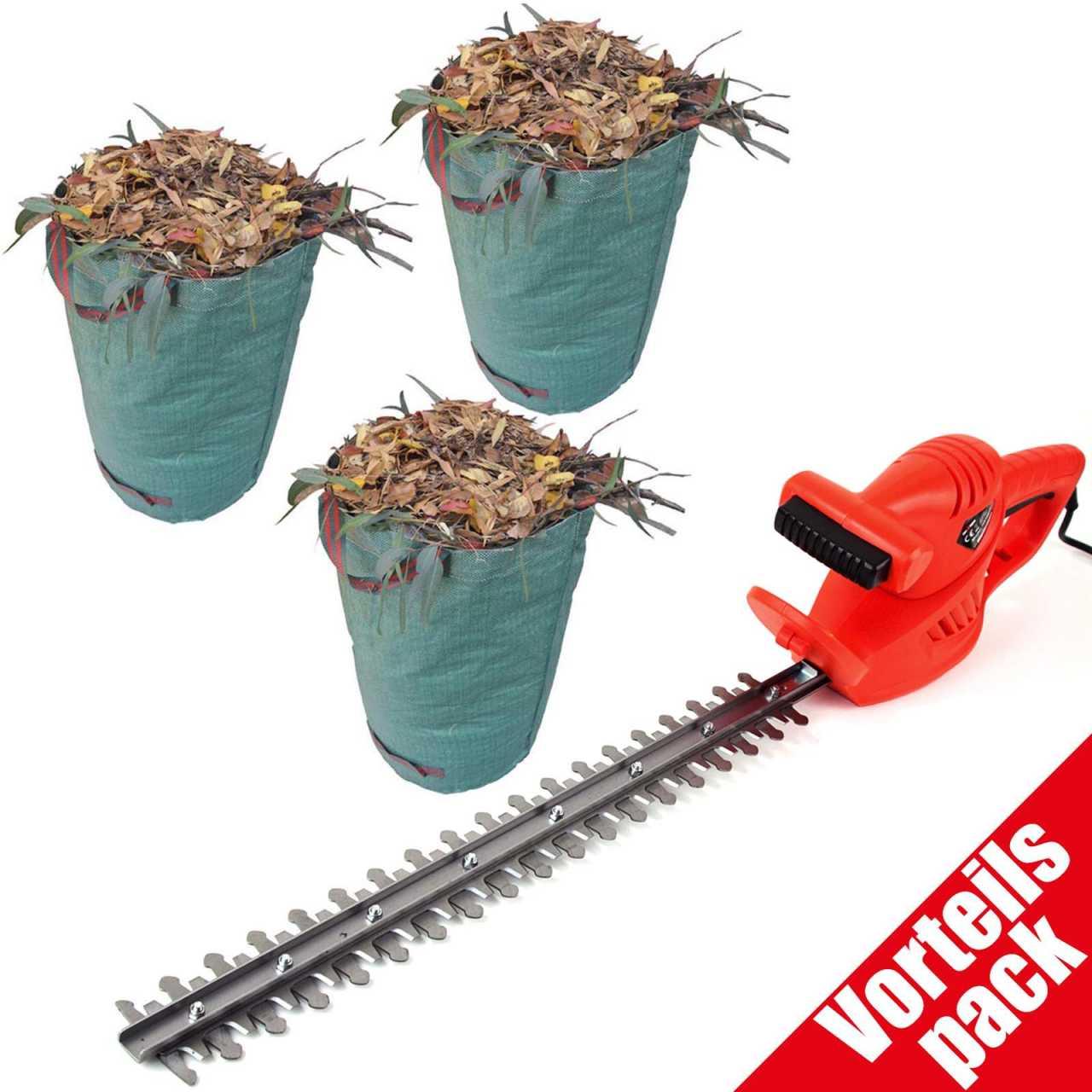 Vorteilspack Grafner® elektrische Heckenschere + 3 Grafner® Gartenabfallsack 272 Ltr.