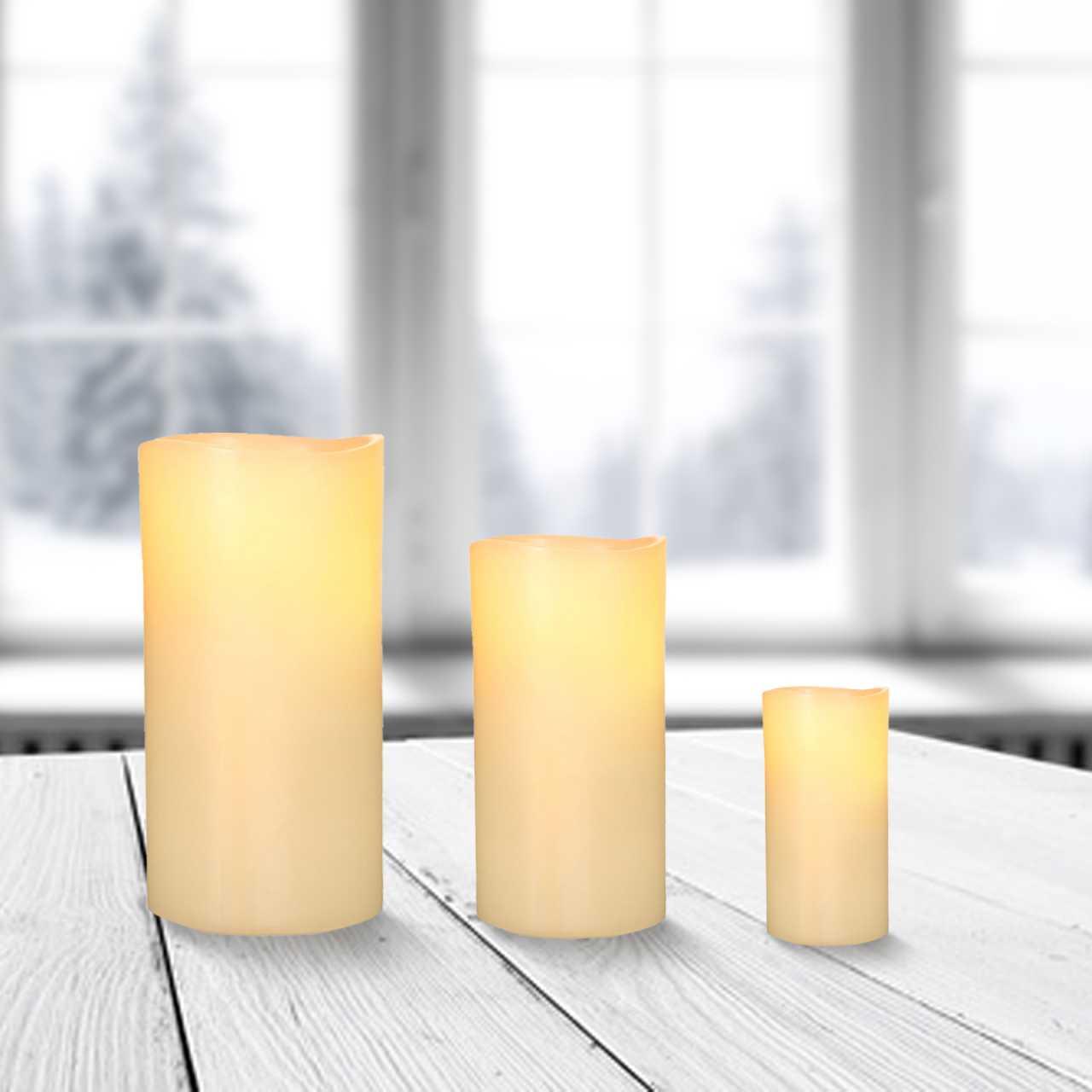 3x LED Kerzen Echtwachs Flackereffekt inkl. Batterie Ø 5cm Höhe 5cm / 7,5cm / 10cm