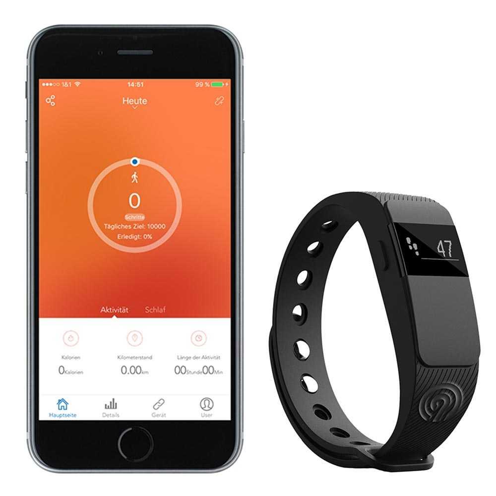 NINETEC Smartfit Fitnesstracker F2 Schwarz