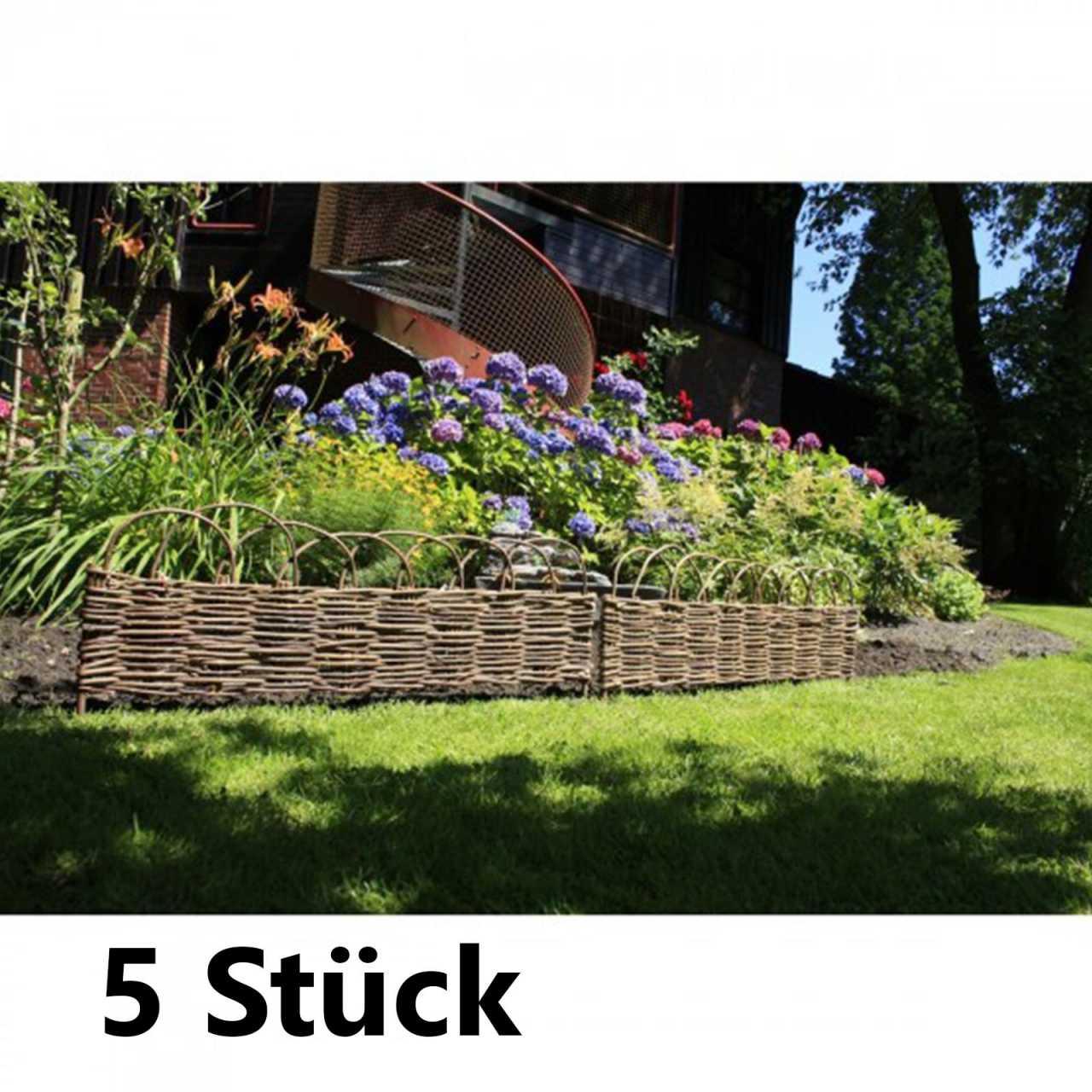 5x Garden Pleasure Beetbegrenzung aus Weide Rasenkante