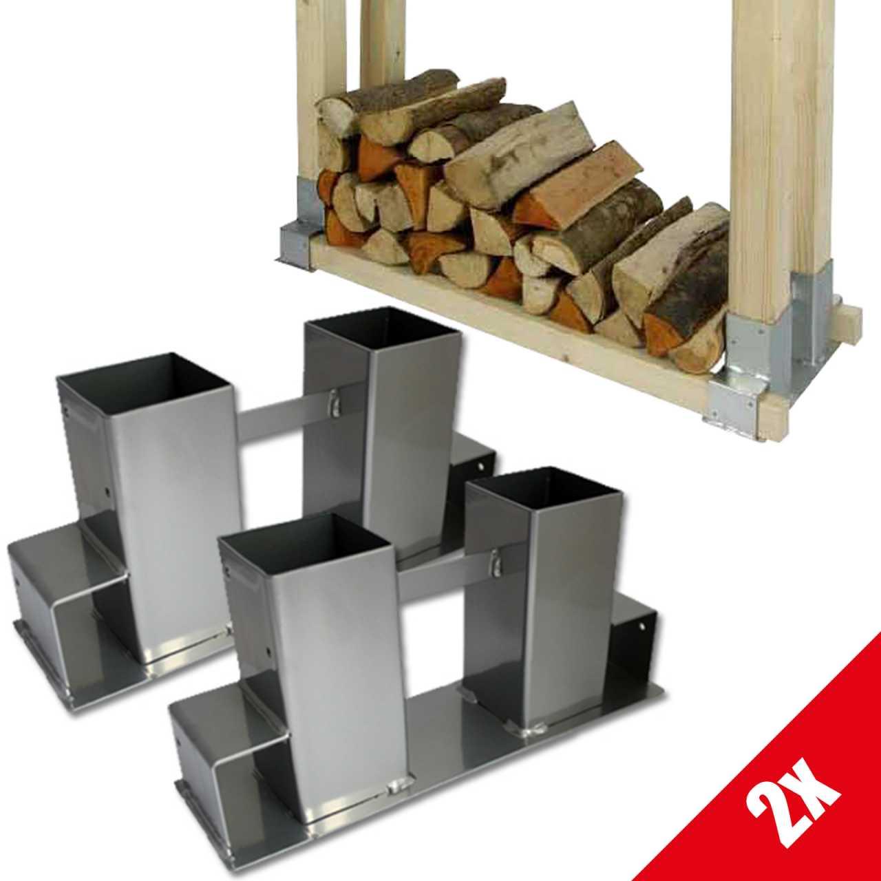 Grafner® 2x Holzstapelhilfe Holzstapelhalter Brennholz Kaminholzregal