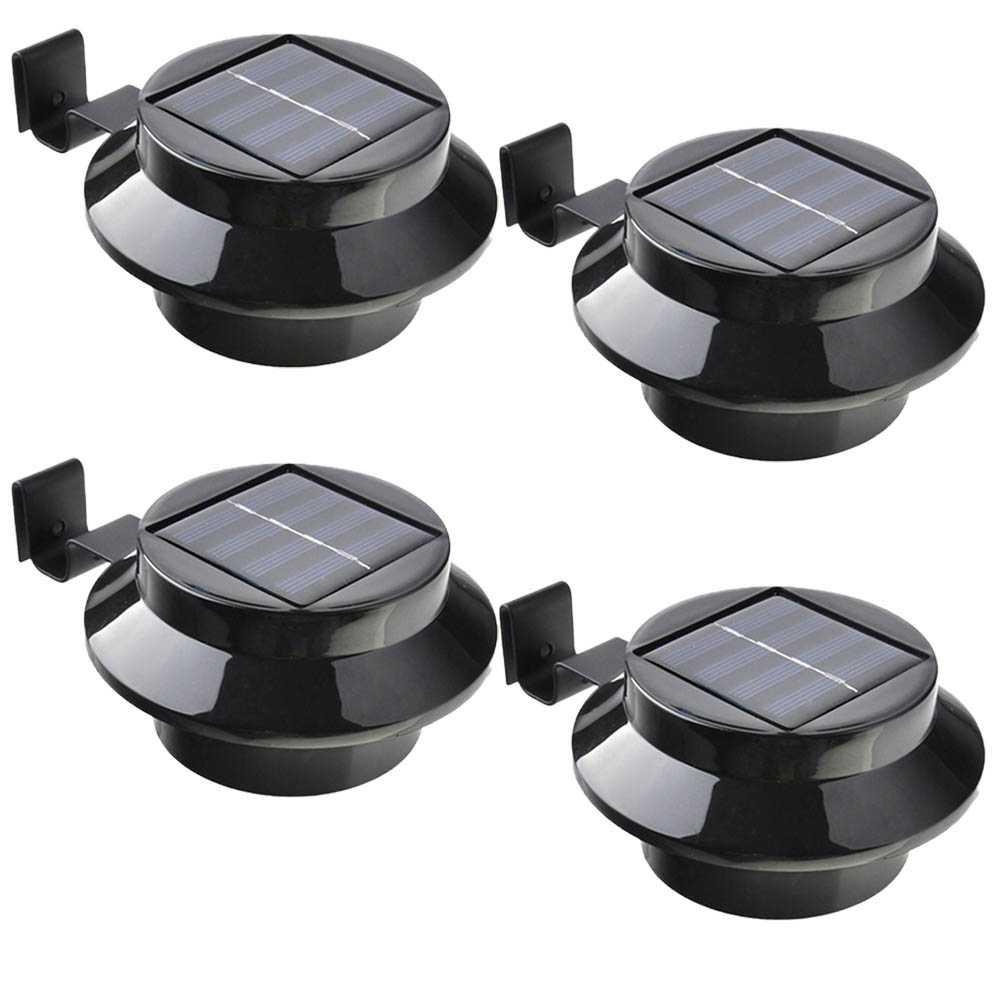 4er Set Grafner® Solar LED Dachrinnenleuchten in schwarz Dachrinnenbeleuchtung