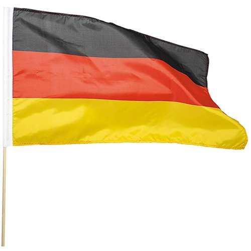 Flagge Deutschland mit Holzstab 90 x 150 cm Deutschlandfahne