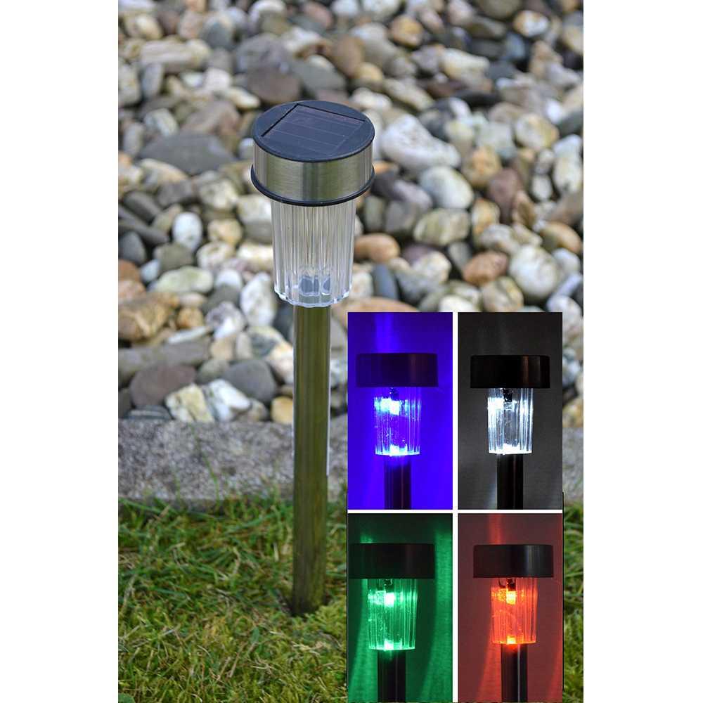 5er Set Solar LED Gartenlampe mit Farbwechsel Wegleuchte RGB Stick 22cm