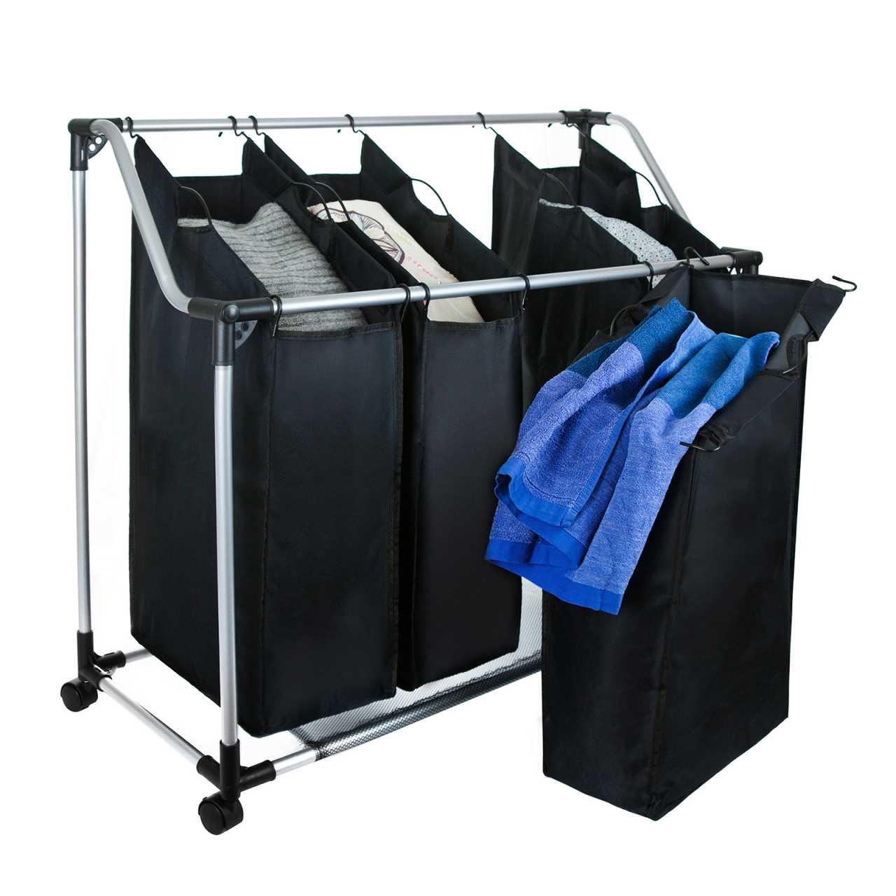 Grafner® Wäschesortierer mit 4 Fächer Wäschewagen mit Ablage Wäschesammler auf Rollen