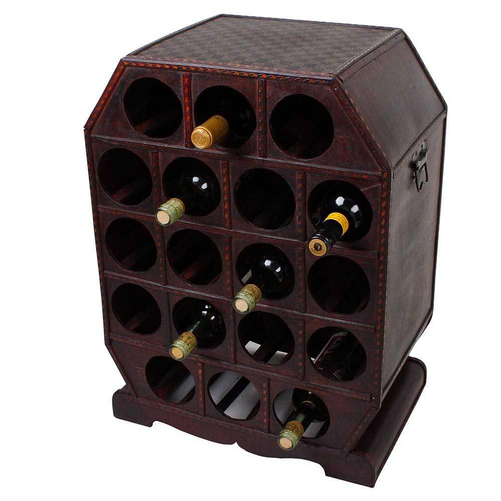 Weinregal im Kolonialstil für 18 Flaschen