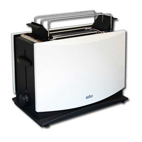 Doppelschlitz Toaster Braun HT 450 MultiToast mit Brötchenaufsatz in weiss