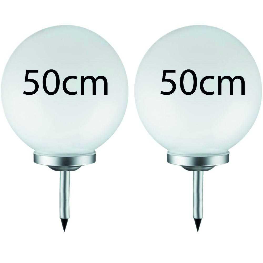 2er Set Grafner® LED Solar Kugel Ø50cm Solarleuchte Kugelleuchte mit Erdspieß