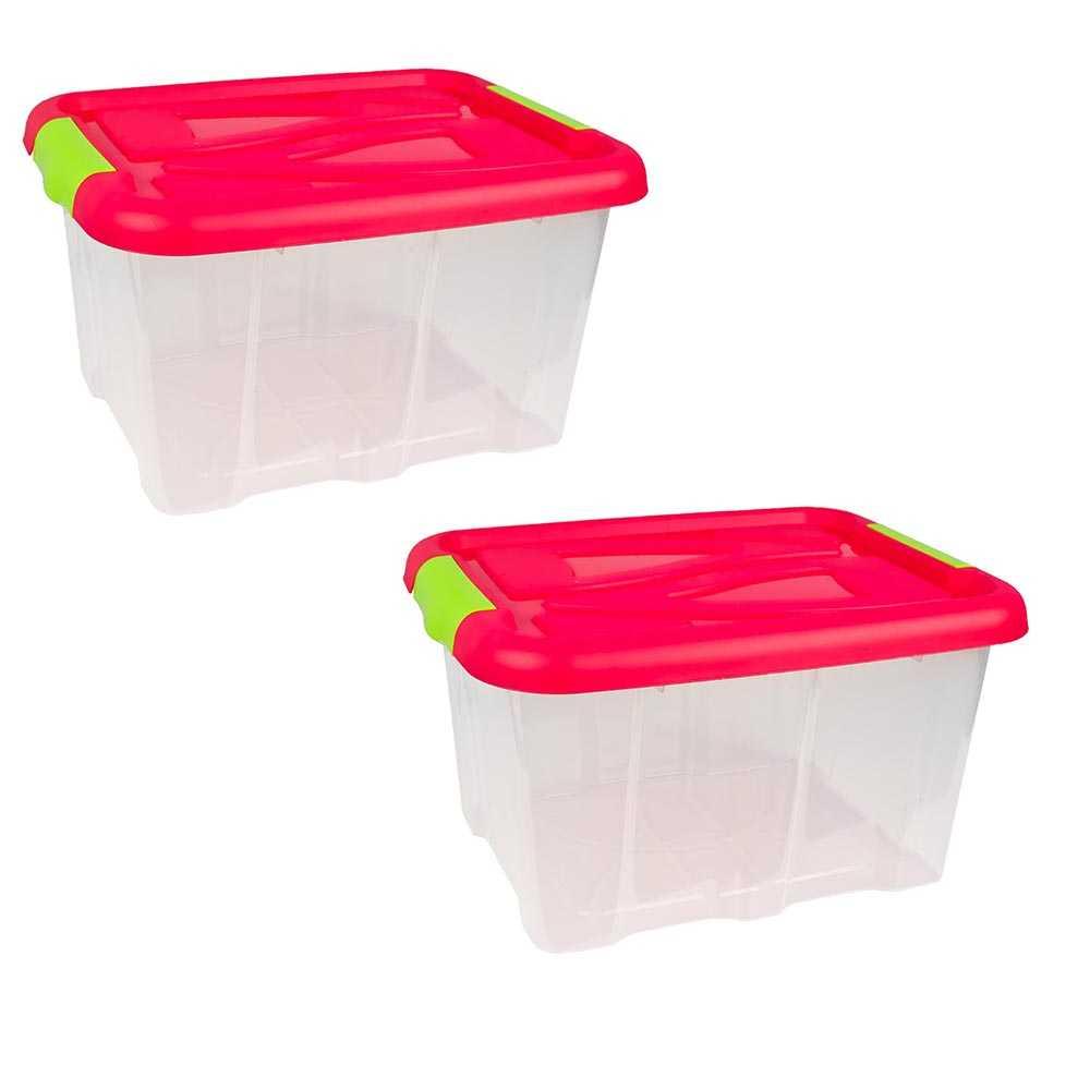2er Set Stapelboxen 30 Liter Aufbewahrungskisten mit Pinkem Deckel