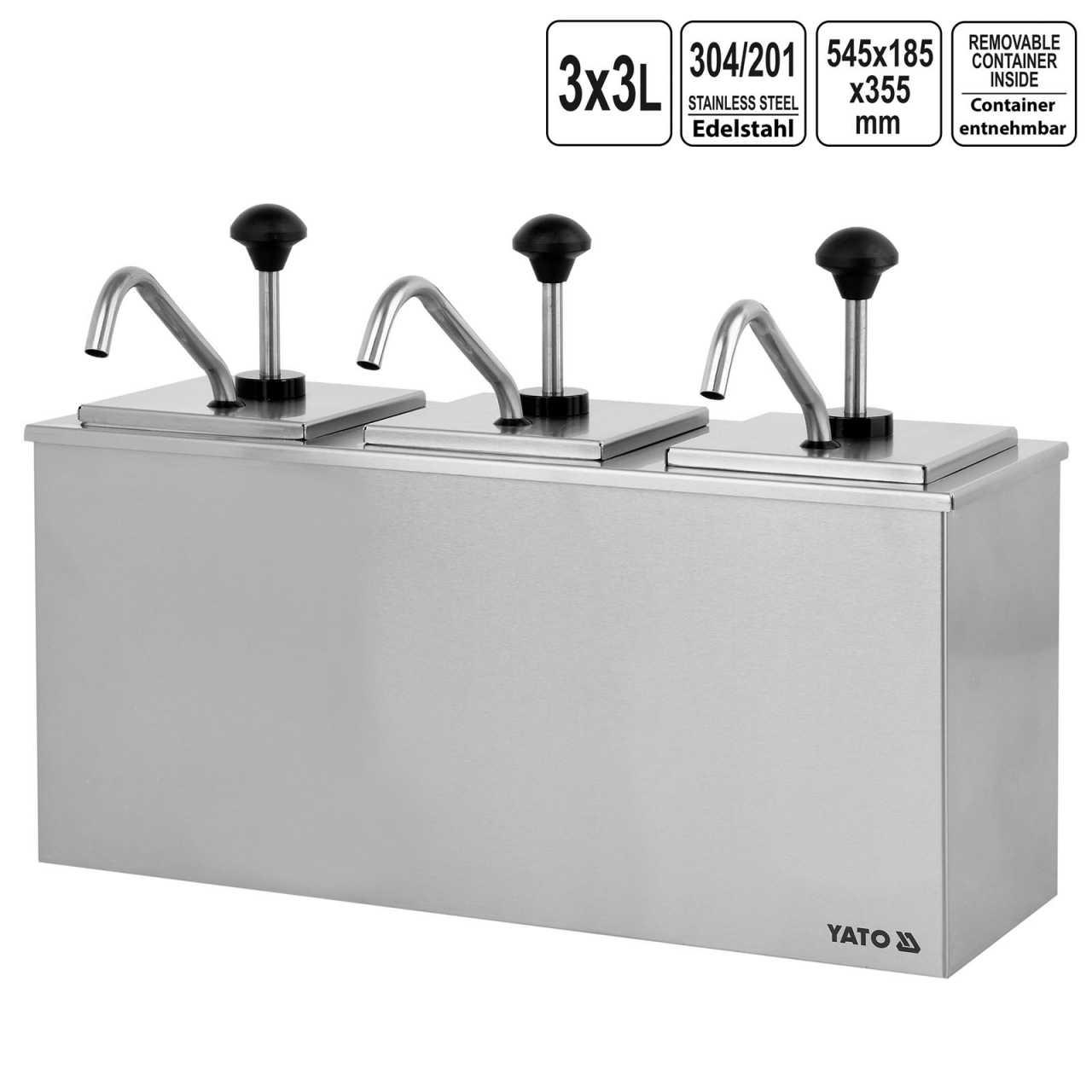 Yato Saucen Spender 3x3L Edelstahl