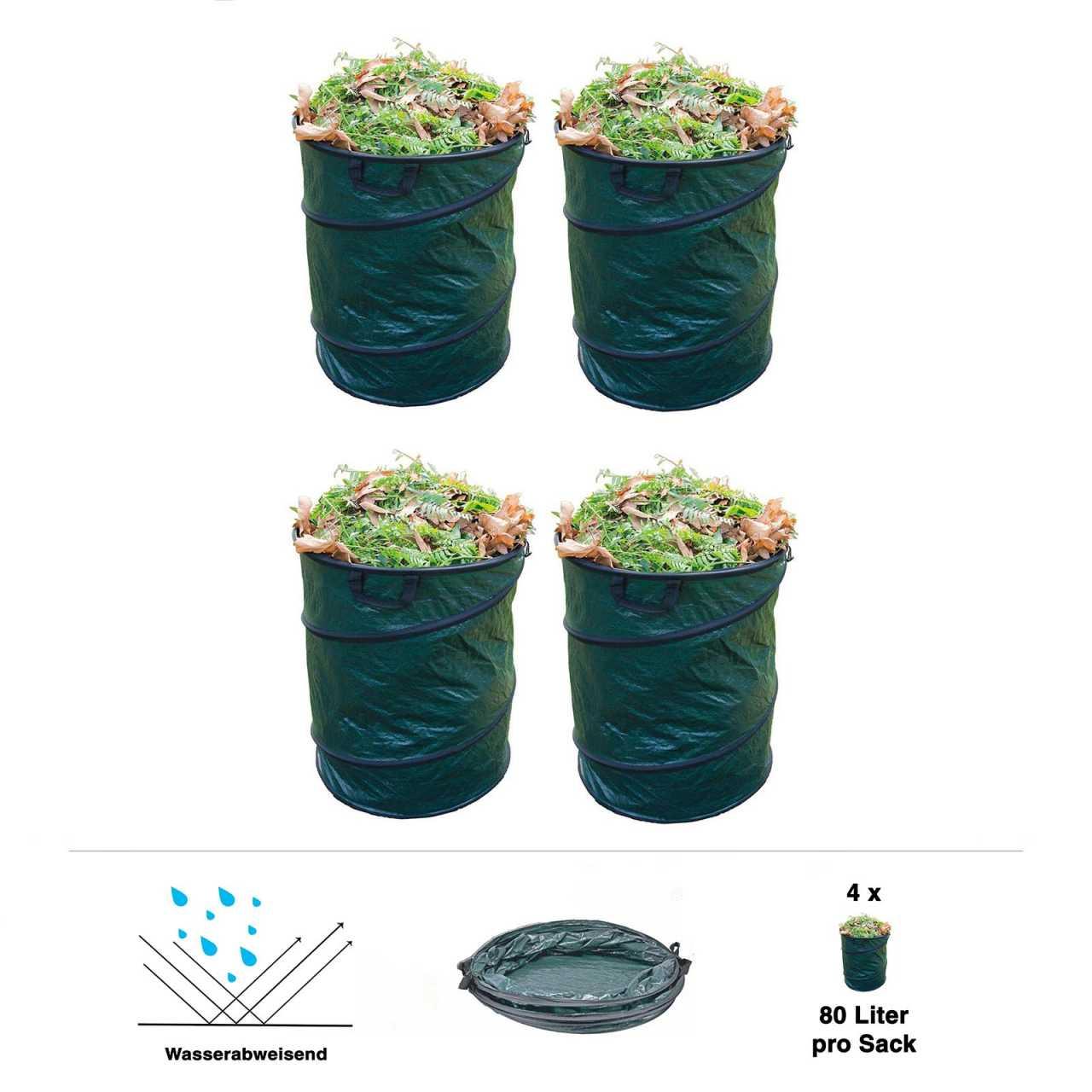 4er Set Grafner® Pop-Up Gartenabfallsack 80 Liter Gartentasche rund Laubsack