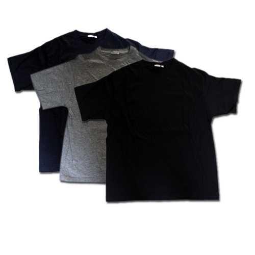 T-Shirt 3er Pack rundhals Unterzieh-Shirt in schwarz, grau, blau Größe: M 48/50